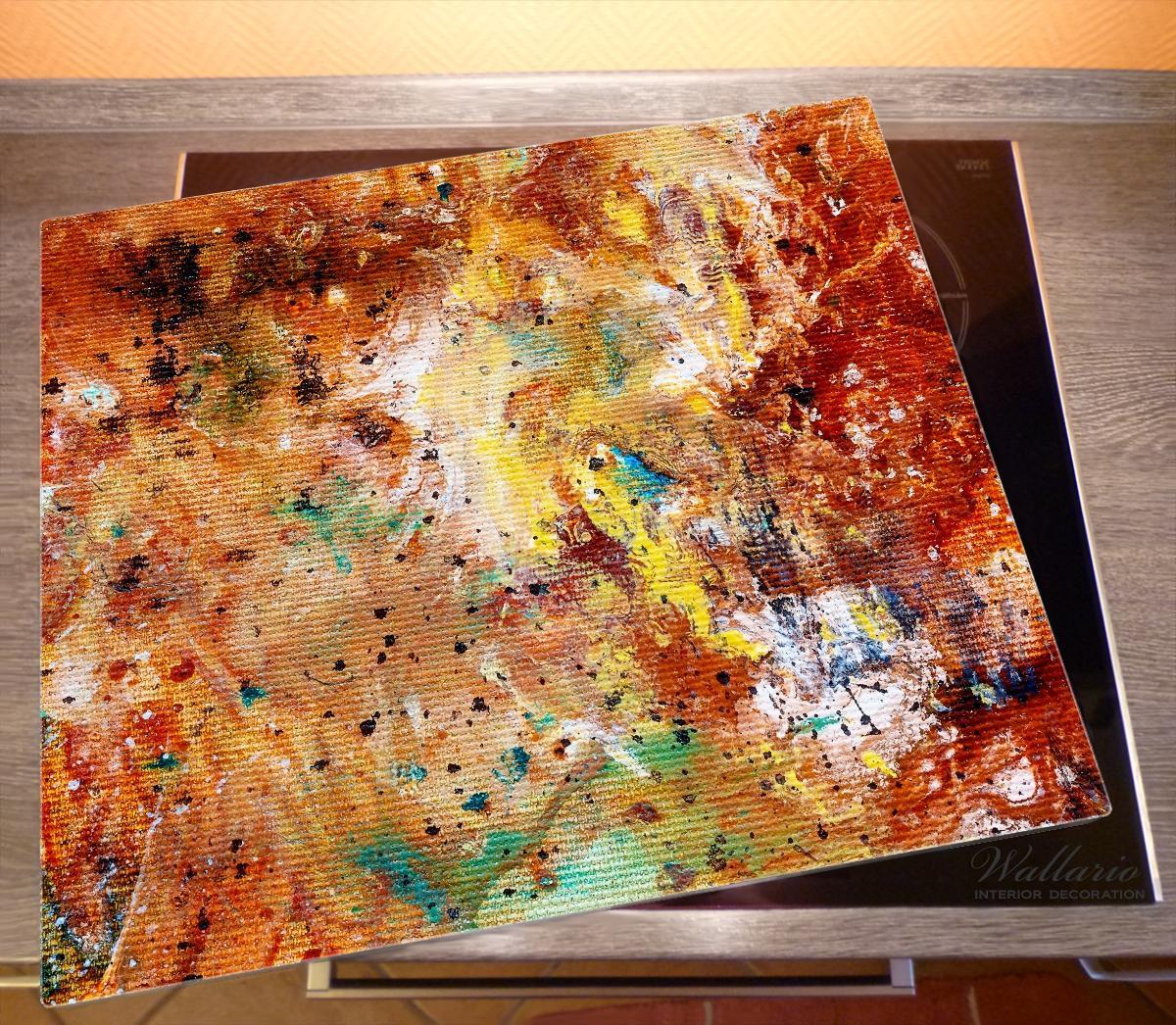 Herdabdeckplatte Künstlerische bunte Leinwand - Farbkleckse und Tupfer – Bild 2