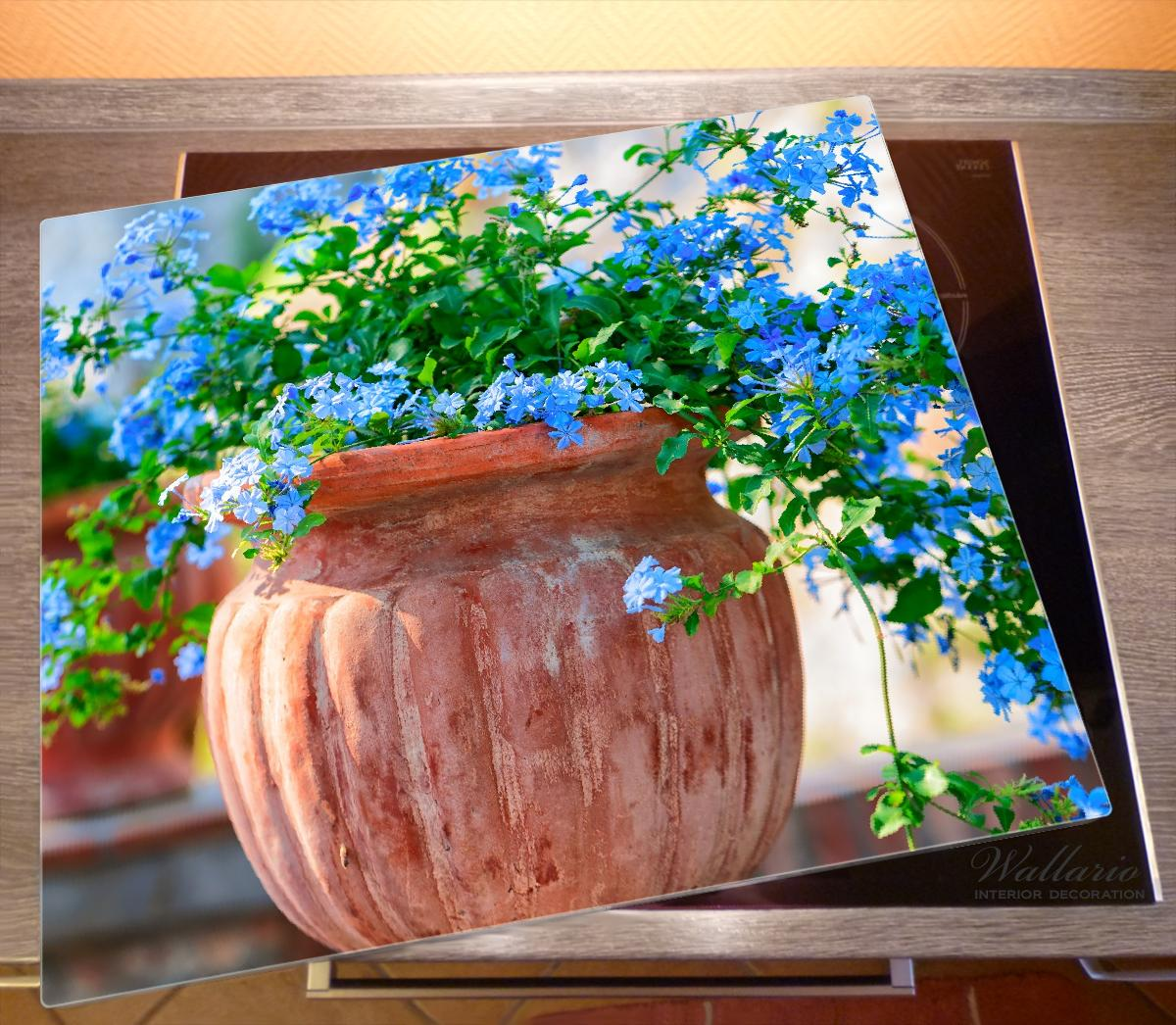 Herdabdeckplatte Blaue Blumen in einer Steinvase – Bild 2