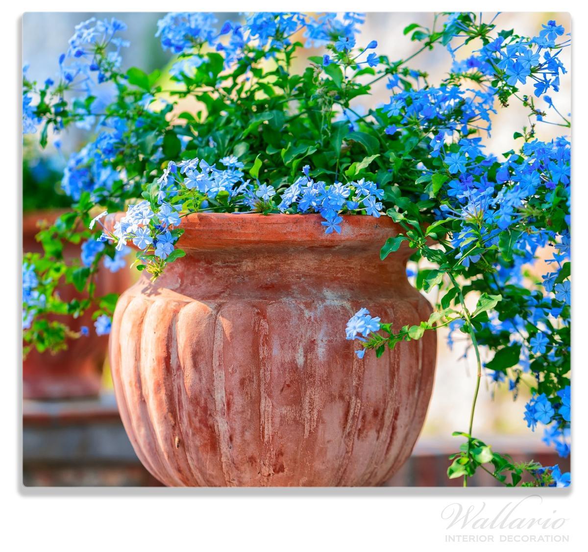 Herdabdeckplatte Blaue Blumen in einer Steinvase – Bild 1