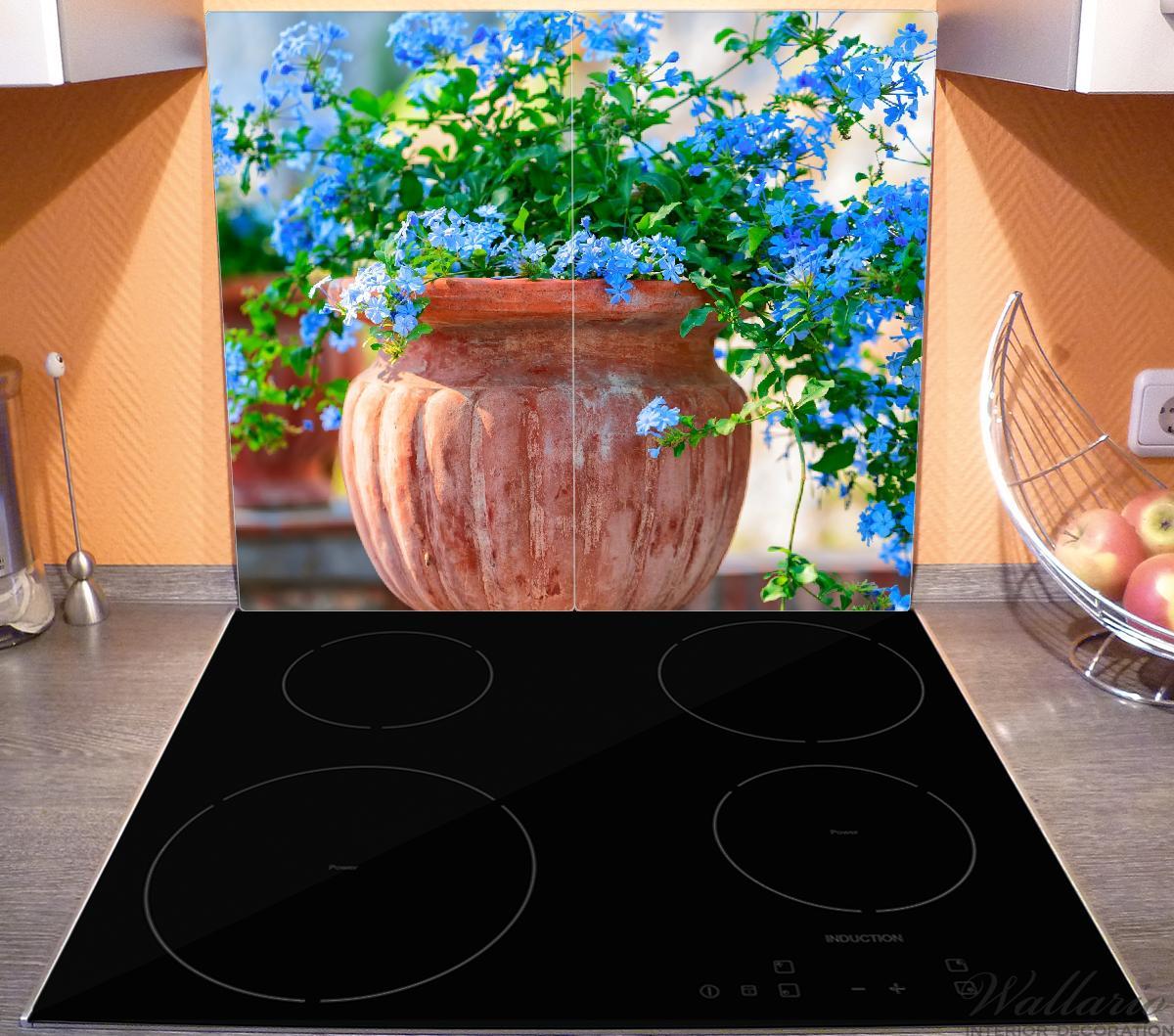 Herdabdeckplatte Blaue Blumen in einer Steinvase – Bild 3