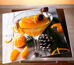 Herdabdeckplatte Winterlicher Cocktail in orange – Bild 2