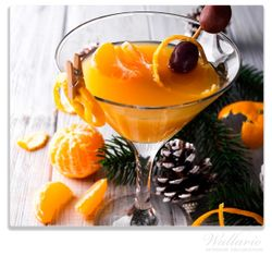 Herdabdeckplatte Winterlicher Cocktail in orange – Bild 1