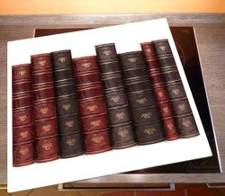 Herdabdeckplatte Alte Bücher mit rotem und braunem Ledereinband – Bild 2