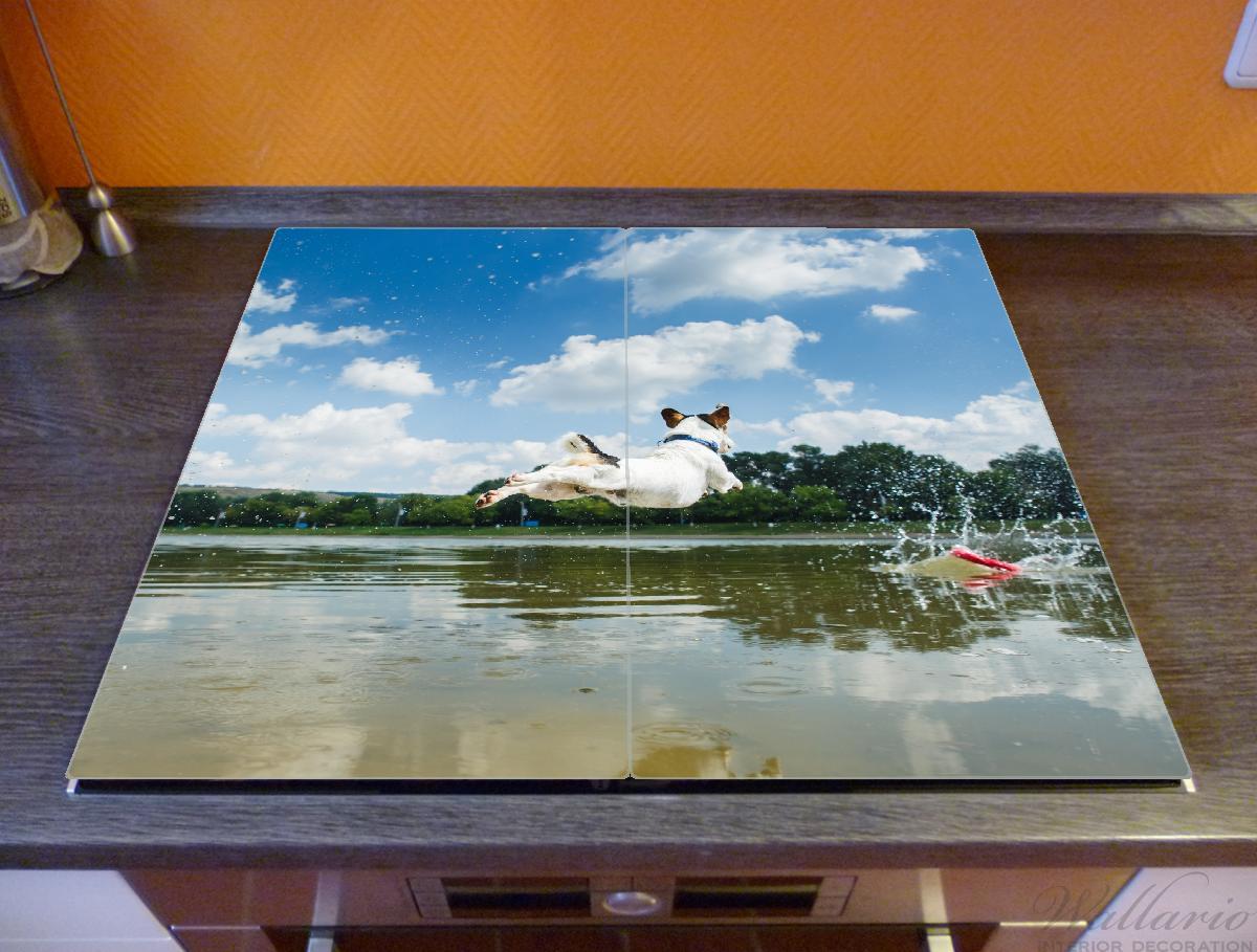 Herdabdeckplatte Jack Russel Terrier im Wasser  – Bild 2