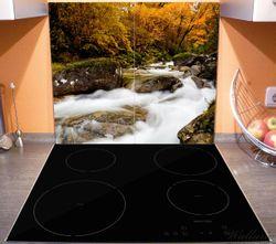 Herdabdeckplatte Fließender Bach im Herbstwald – Bild 3