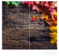 Herdabdeckplatte Herbstblätter auf altem Holz – Bild 1