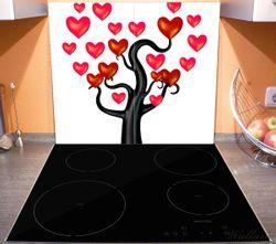 Herdabdeckplatte Comic Baum mit Herzen – Bild 3