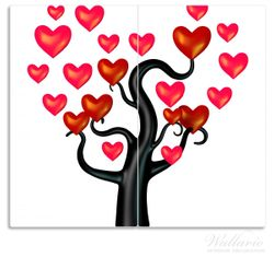 Herdabdeckplatte Comic Baum mit Herzen – Bild 1