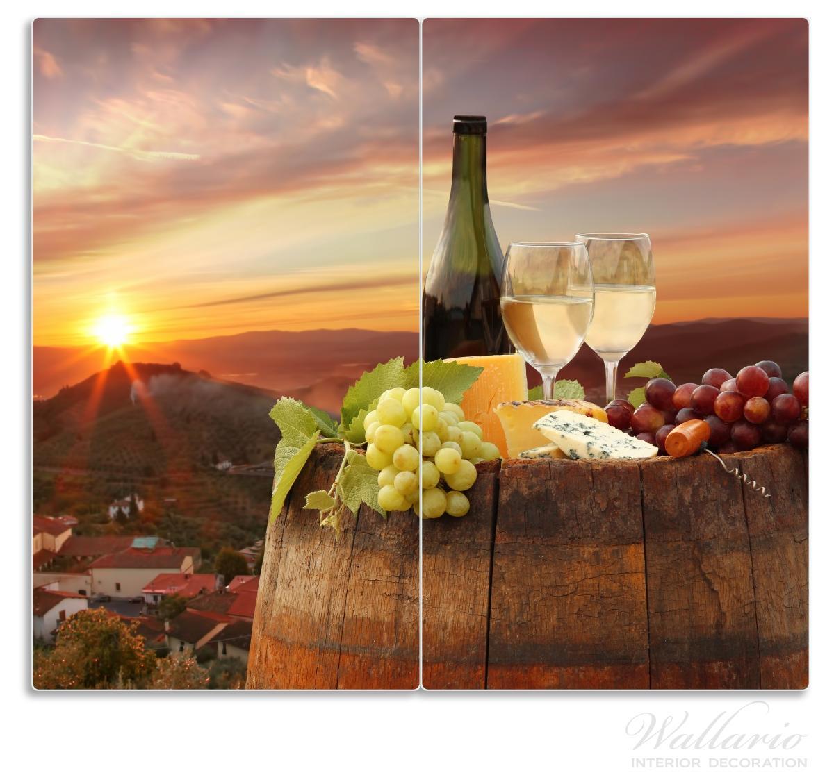 Herdabdeckplatte Wein Romantik - Weißwein mit Käse auf einem Fass – Bild 1