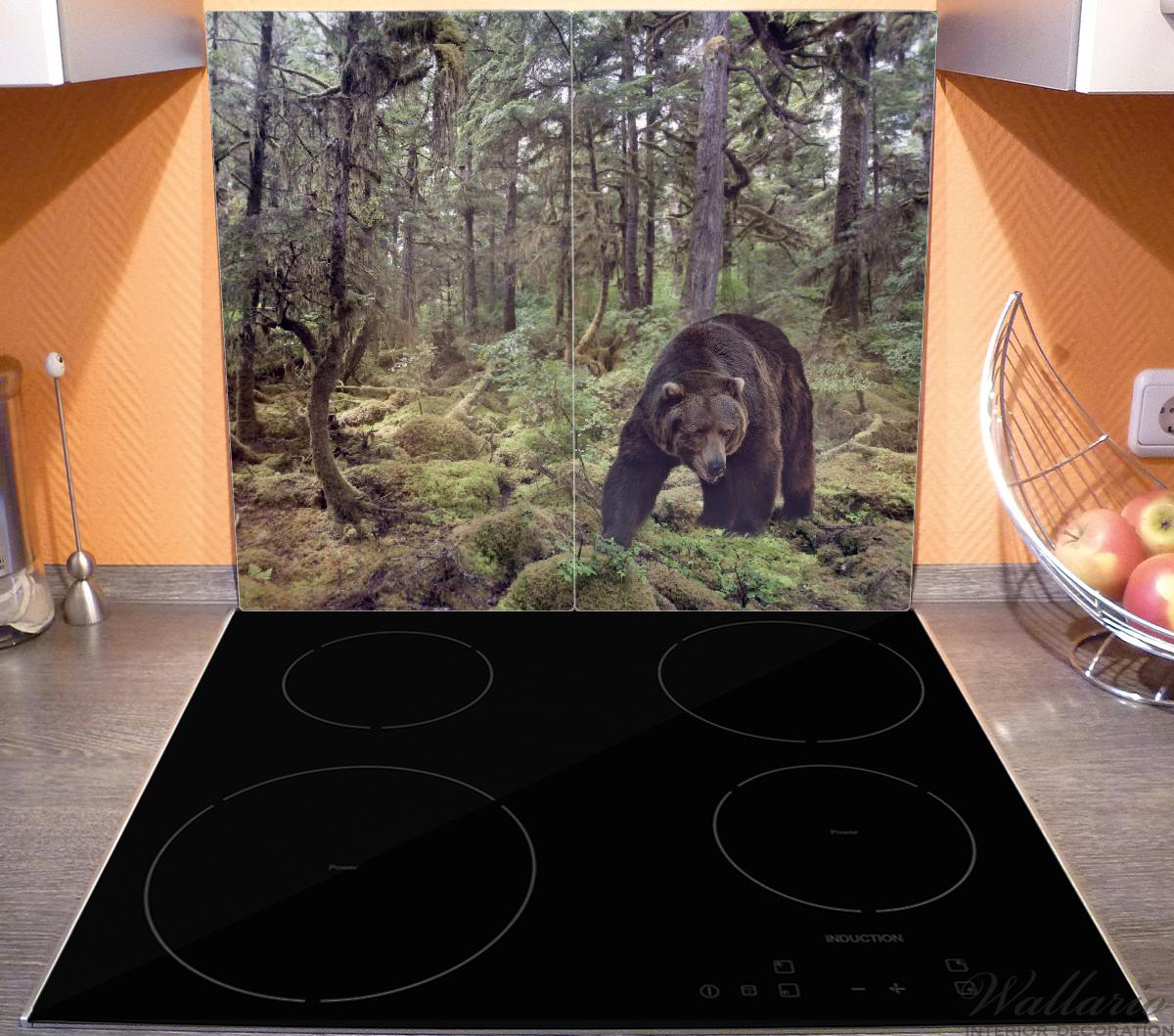 Herdabdeckplatte Gefährlicher Grizzlybär im Wald – Bild 3
