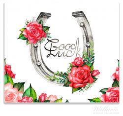 Herdabdeckplatte Viel Glück – Hufeisen mit roten Rosen – Bild 1