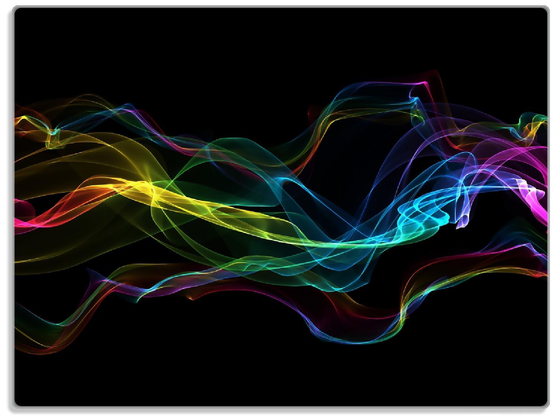 Glasunterlage Bunter Rauch vor schwarzem Hintergrund – Bild 1