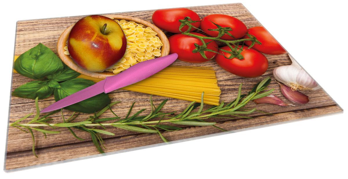 Glasunterlage Spaghetti mit Tomaten, Knoblauch und Basilikum - Zutaten für ein italienisches Abendmahl