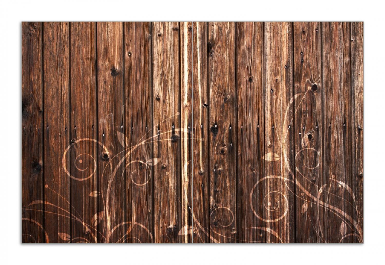 Herdabdeckplatte Holz in dunkelbraun mit Blumenmuster - Schnörkel – Bild 1