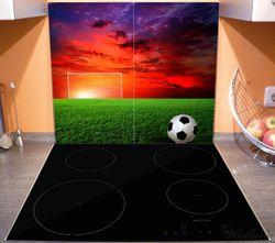 Herdabdeckplatte Fußball - Fußballfeld bei Sonnenuntergang – Bild 3