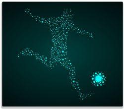 Herdabdeckplatte Fußball - ein Spieler aus tausend Sternen in türkis – Bild 1