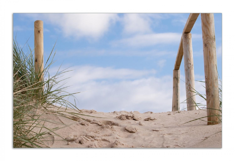 Herdabdeckplatte Auf der Holztreppe zum Strand – Bild 1