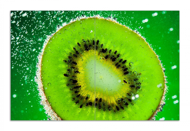 Herdabdeckplatte Grüne Kiwi-Scheibe im Wasser – Bild 1