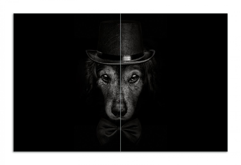 Herdabdeckplatte Eleganter Hund mit Zylinder in schwarz-weiß – Bild 1