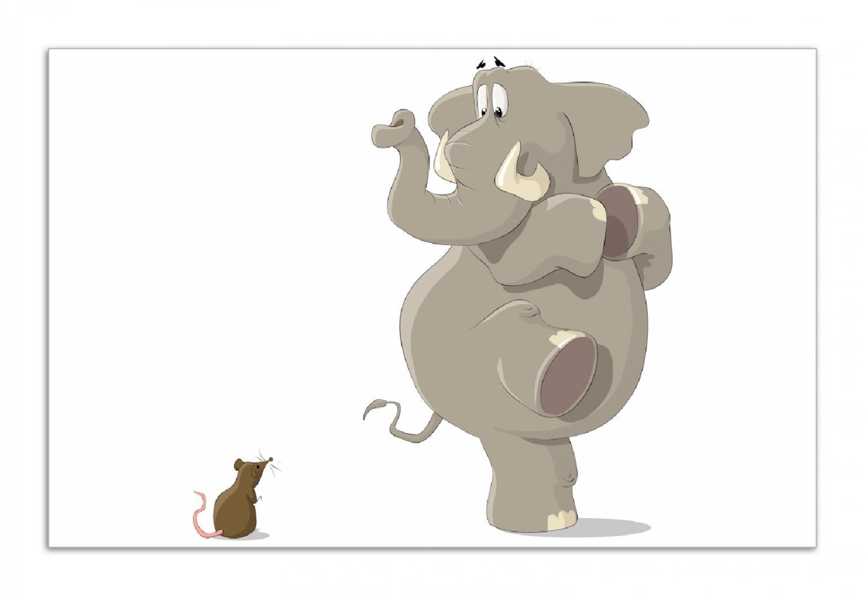 Herdabdeckplatte Elefant erschrickt vor Maus – Bild 1