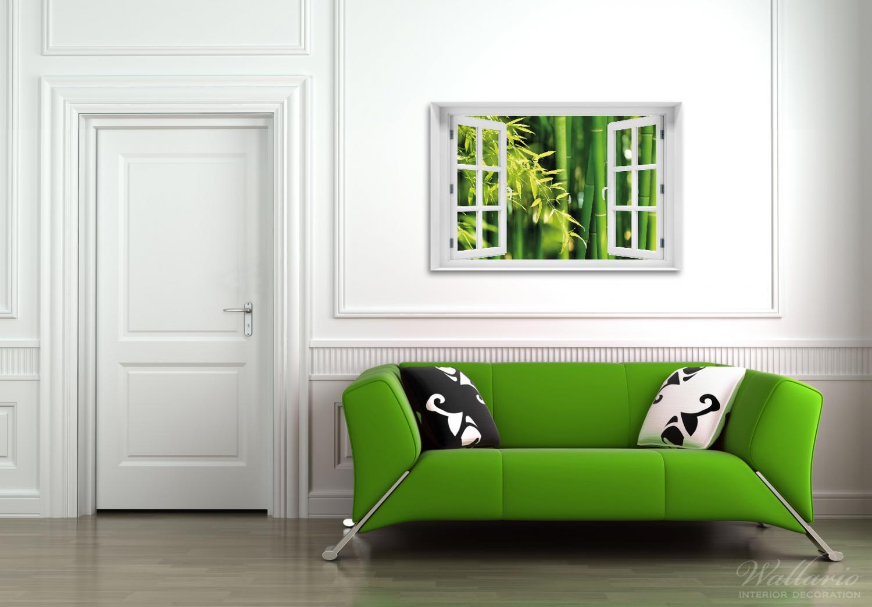 Acrylglasbild Bambuswald mit grünen Bambuspflanzen