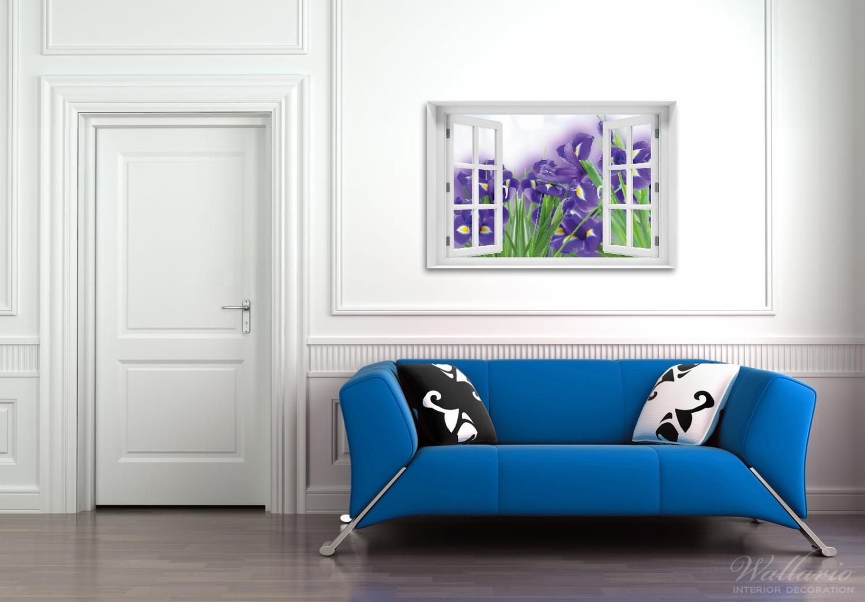 Acrylglasbild Abstrakte blaue Schwertlilien in Nahaufnahme
