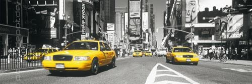 Poster Times Square - yellow Cab Langbahn 158 x 53 cm