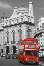 Poster London - Red Bus - Colorkey mit rotem Doppelstockbus