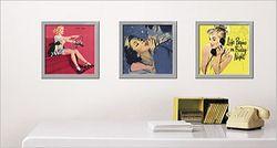 Kunstdruck Glam'vintage - Rot Gelb Blaue Frauenbilder im Retro Look – Bild 2