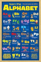 Poster Learn the Alphabet (natur gerahmt)
