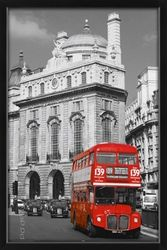Poster London - red bus (schwarz gerahmt)