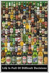 Poster Beers - difficult decisions (silber gerahmt) – Bild 1