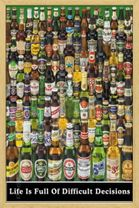Poster Beers - difficult decisions (natur gerahmt) 001