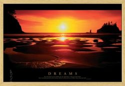 Poster Sunset- Dreams (natur gerahmt)