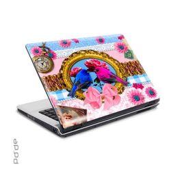"""Laptop Sticker 15,4"""" Lovebirds - Knallbunte Vogelhochzeit mit Wellensittichen"""