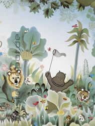 Fototapete Jungle - Comic Dschungel mit lustigen Tieren