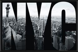 Poster New York - NYC mural (schwarz gerahmt)