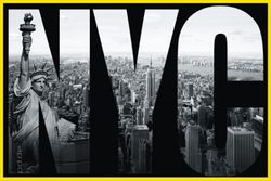 Poster New York - NYC mural (gelb gerahmt)