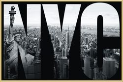 Poster New York - NYC mural (gold gerahmt)
