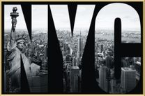 Poster New York - NYC mural (gold gerahmt) 001