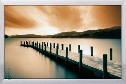 Poster Wooden Landing Jetty - color (silber gerahmt)