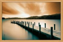 Poster Wooden Landing Jetty - color (natur gerahmt) 001