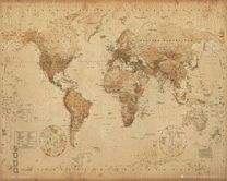 Poster World Map - antique style 001