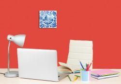 Glasbild Blaue Fliesenmalerei - Motiv 2 - Schäfer auf der Weide – Bild 4