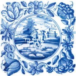 Glasbild Blaue Fliesenmalerei - Motiv 2 - Schäfer auf der Weide – Bild 1