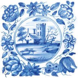 Glasbild Blaue Fliesenmalerei - Motiv 3 - Kleines verträumtes Schloss – Bild 1