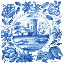Glasbild Blaue Fliesenmalerei - Motiv 3 - Kleines verträumtes Schloss 001