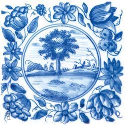 Glasbild Blaue Fliesenmalerei - Motiv 6 - Picknick unter einem Baum – Bild 1