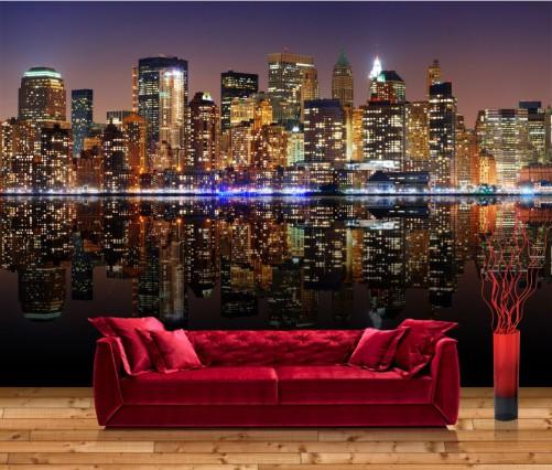 vliestapete new york skyline bei nacht. Black Bedroom Furniture Sets. Home Design Ideas
