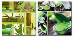 Glasbild Harmonie aus Bambus und Kerzenlichtern – Bild 1